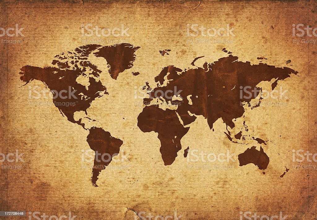 Vintage world map - XXXL size, on old demaged paper stock photo