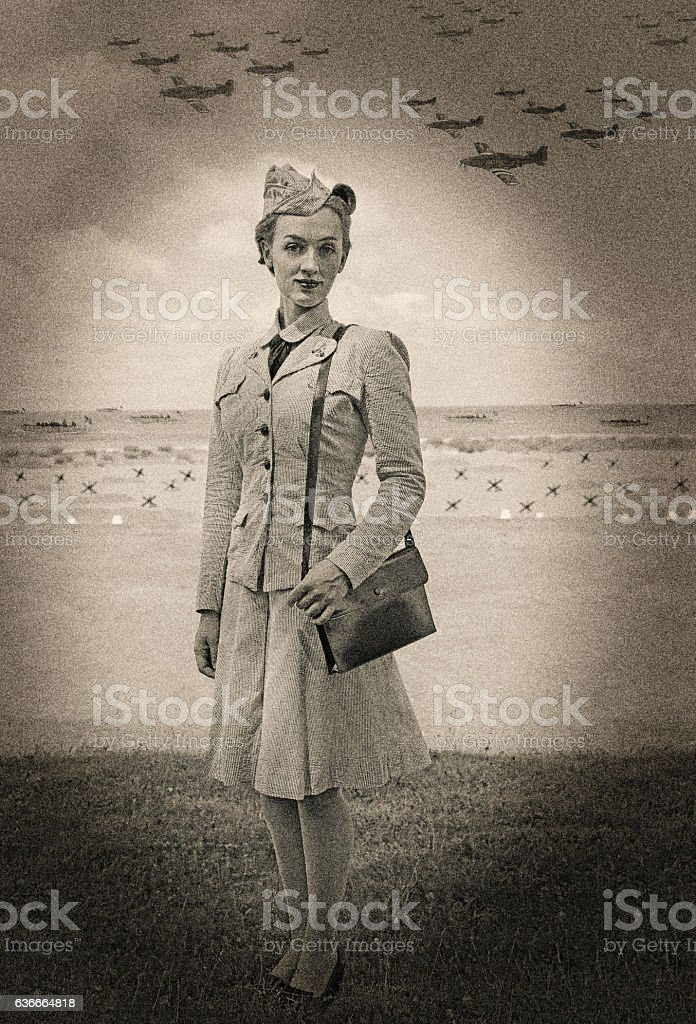 Vintage World War 2 Female Navy Officer On Normandy Beach stock photo