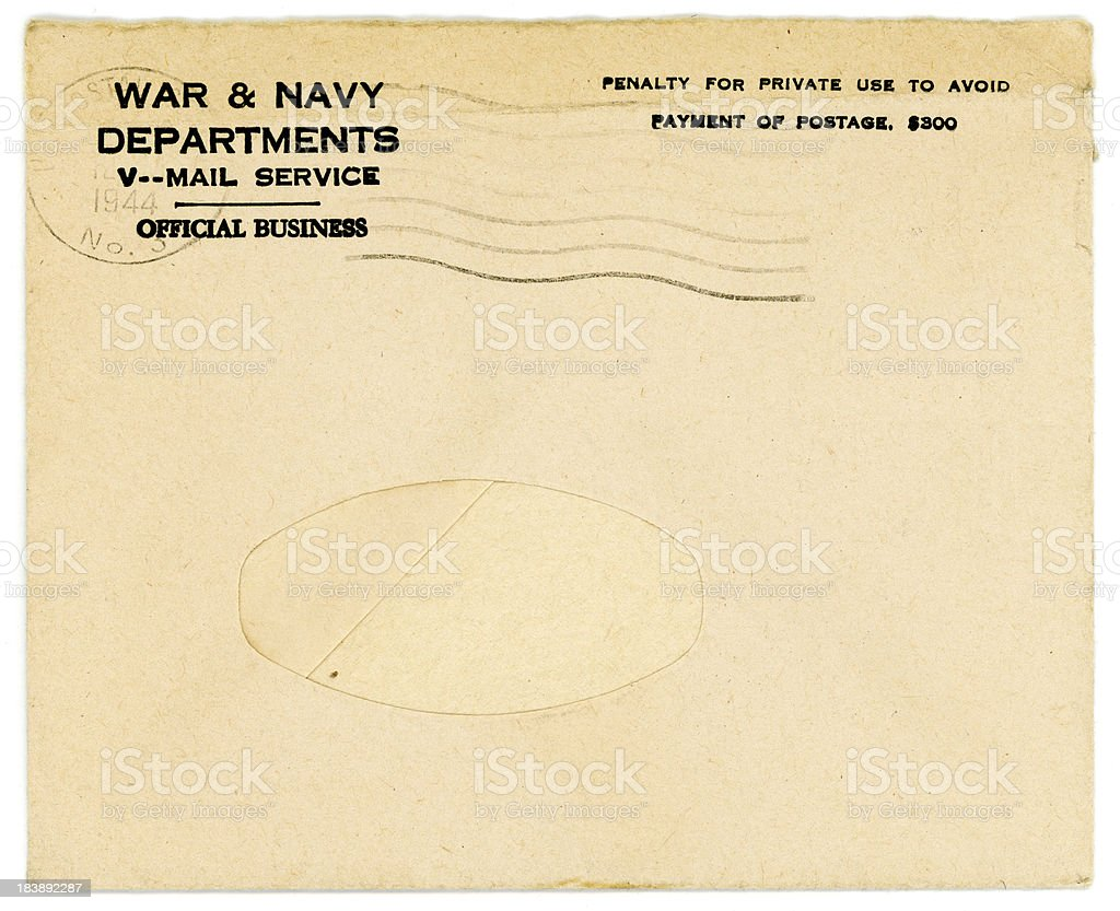 Vintage World War Two United States V-Mail (Victory Mail) Envelope royalty-free stock photo