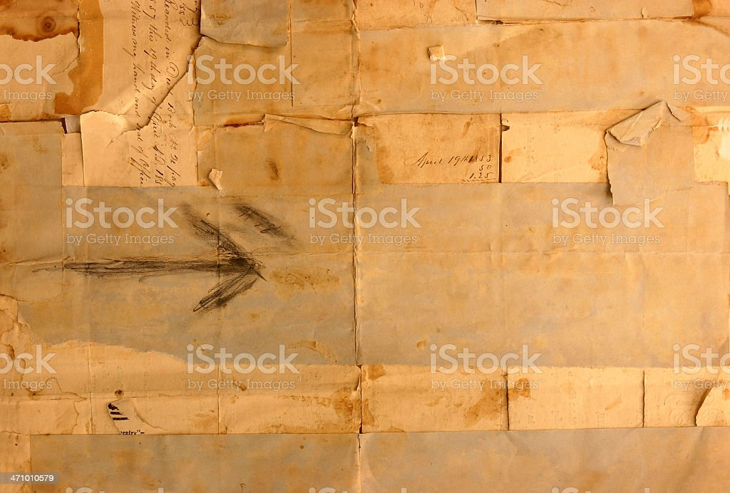 Vintage worn tapped paper pieces 1853 royalty-free stock photo