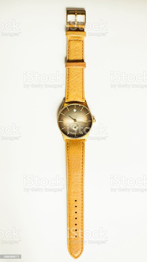 Vintage Wrist watches on white background. stock photo