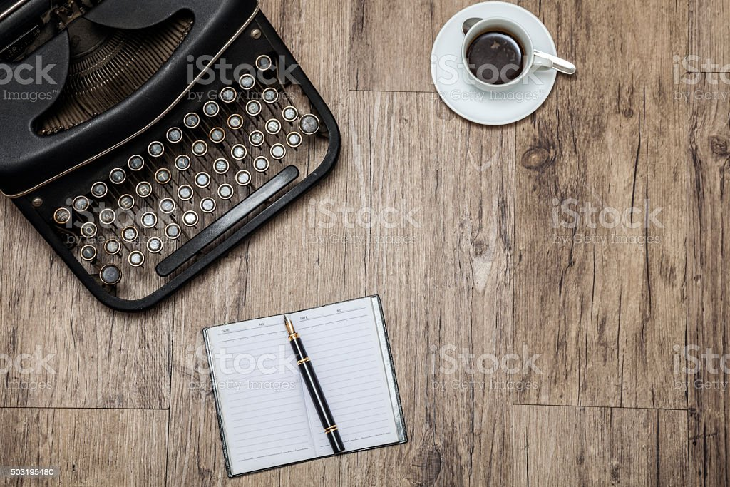 Vintage writer's equipment stock photo
