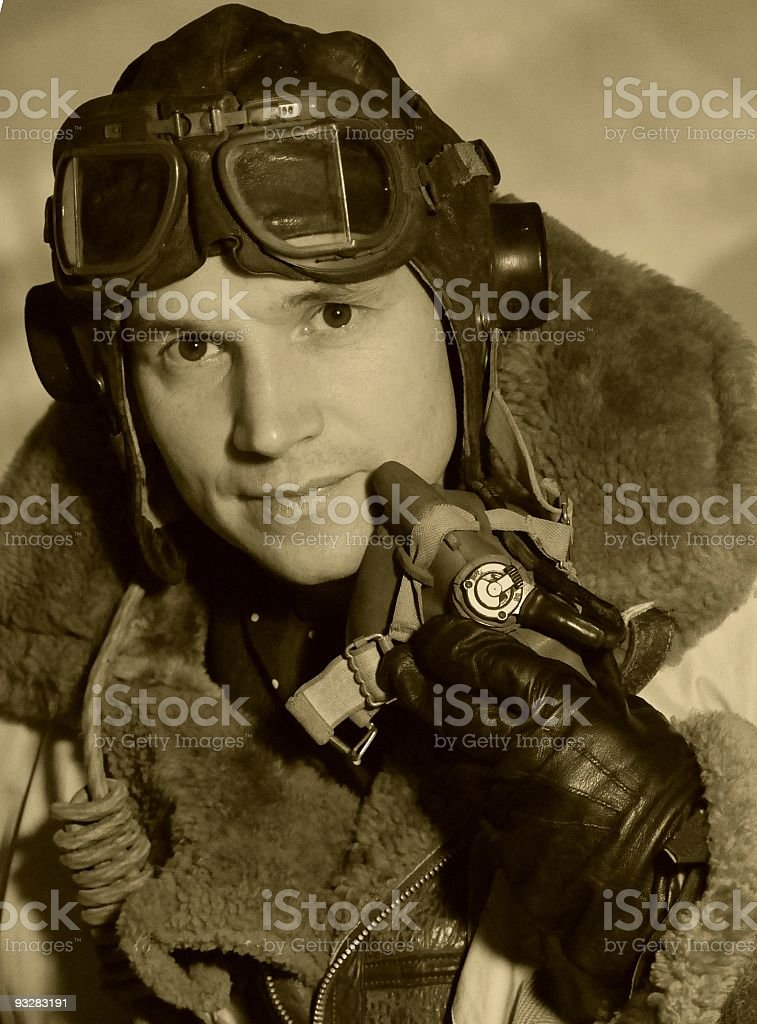 Vintage WW2 RAF Pilot stock photo
