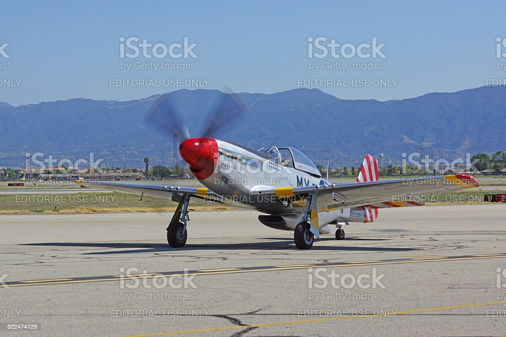 Vintage WWI P-51 Mustang Airplane at Airshow stock photo