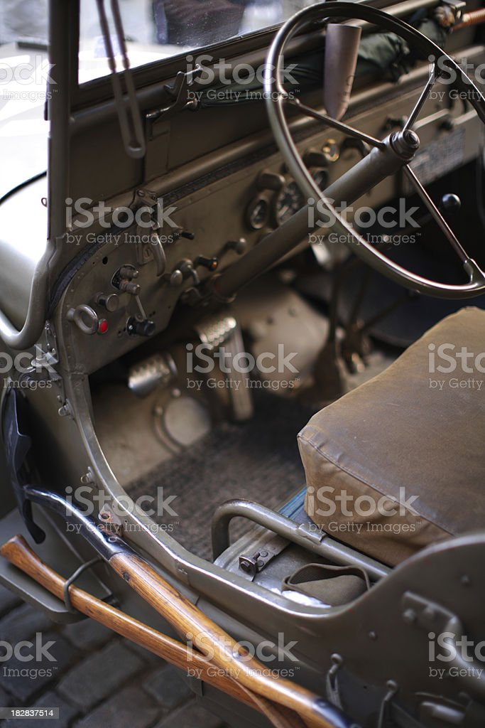 Vintage WWII army jeep stock photo