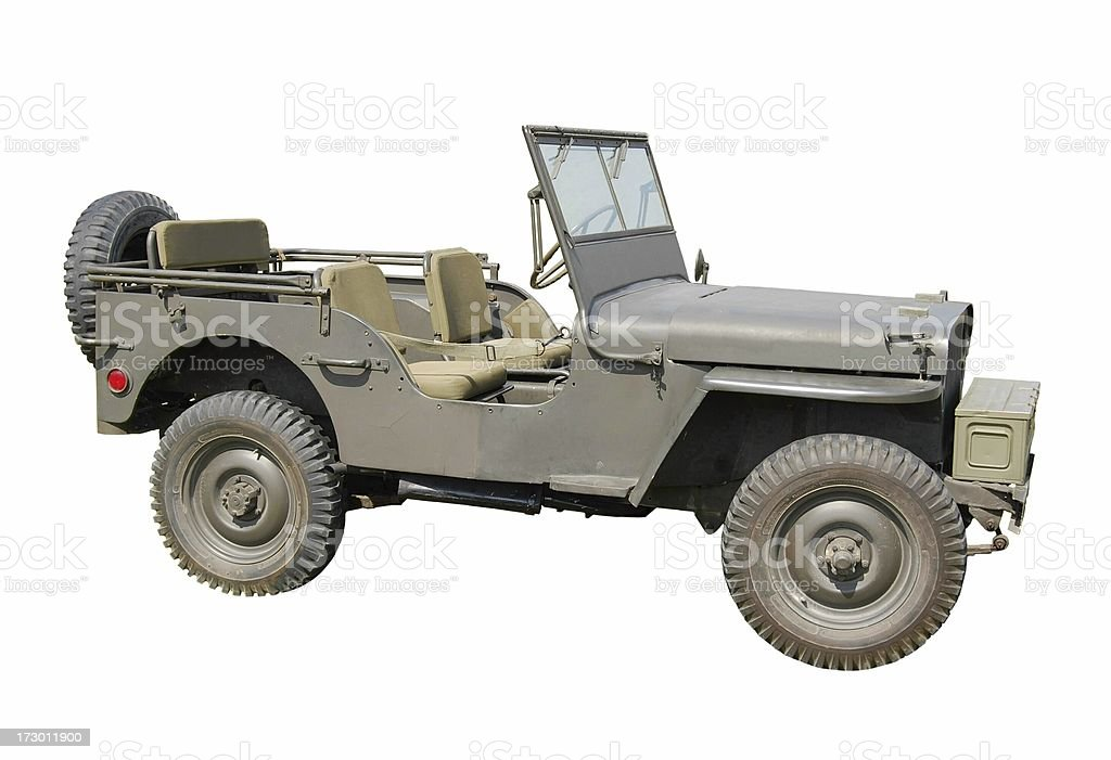 Vintage WWII jeep isolated on white stock photo
