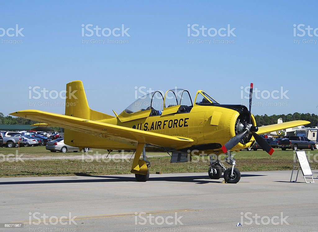 Vintage yellow airplane royalty-free stock photo