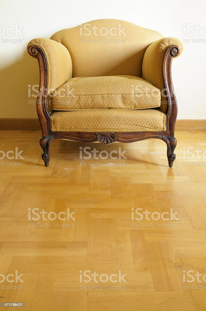 Vintage Yellow Armchair.Copy Space royalty-free stock photo