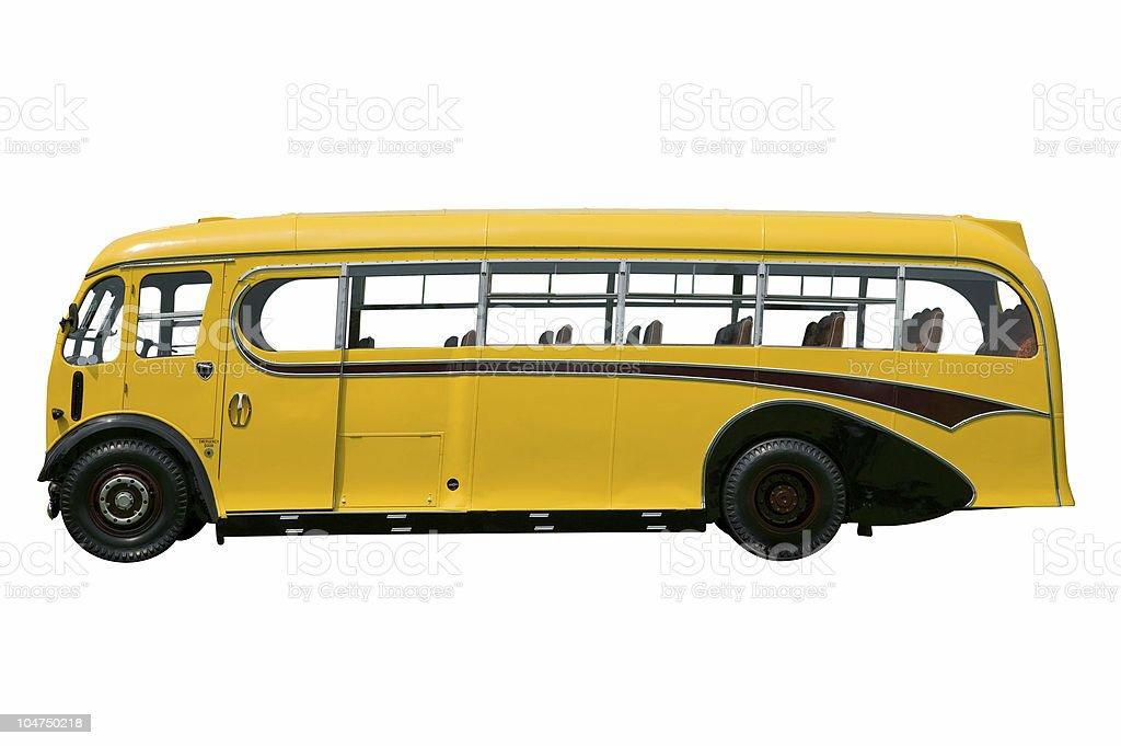 Vintage yellow bus, isolated. royalty-free stock photo