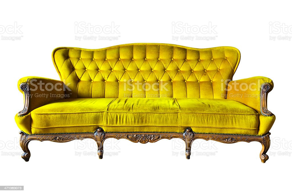 Poltrona di lusso vintage giallo isolato con clipping path foto stock royalty-free