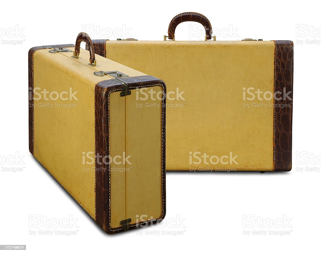 Vintage Yellow Suitcases royalty-free stock photo
