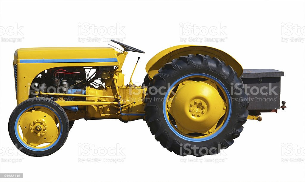 Vintage Yellow Tractor royalty-free stock photo