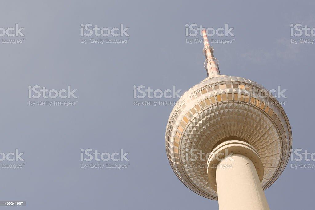 Vintage Zoomed TV tower Alexanderplatz stock photo