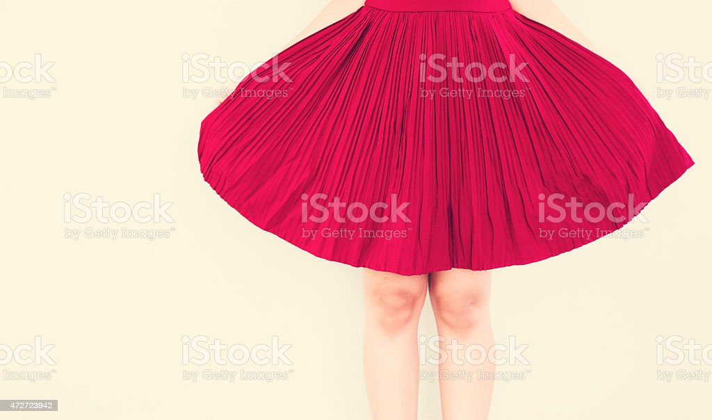 Vintage,Red skirt stock photo