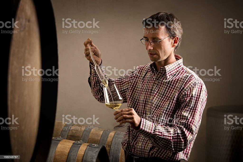 Vintner taking sample of white wine in cellar. stock photo