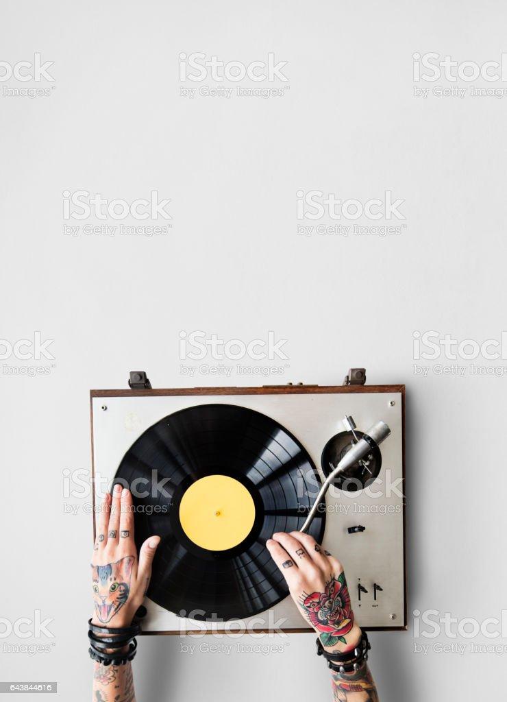 Vinyl Audio Music Rhythm Playing Tattoo Art Concept stock photo