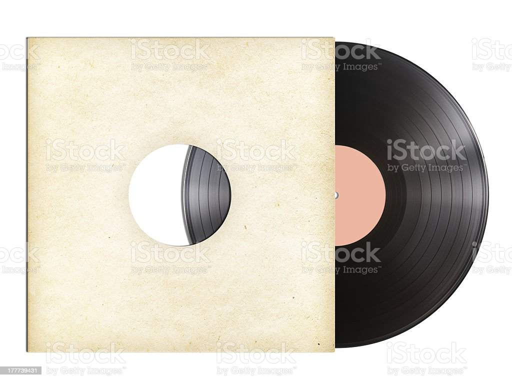 vinyl music disc in paper sleeve isolated stock photo