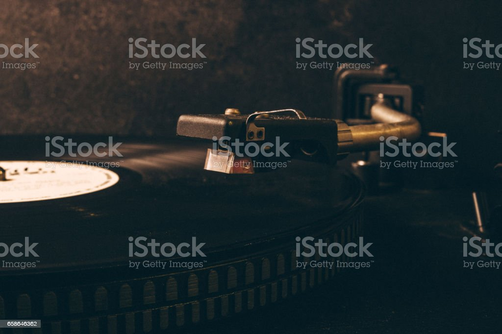 Vinyl on the record player. stock photo