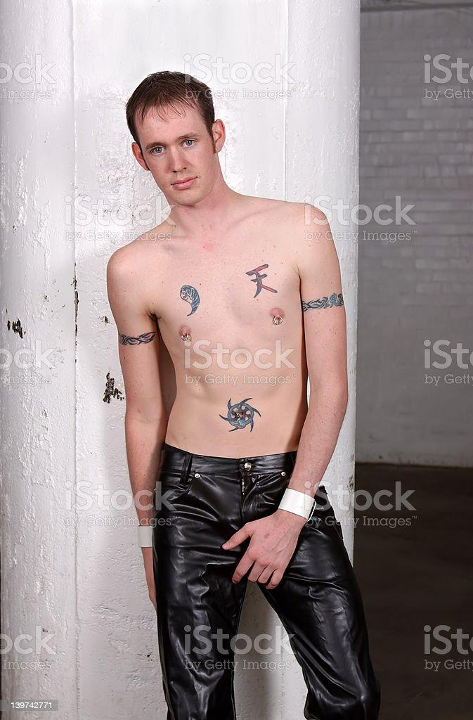 Vinyl pants man stock photo