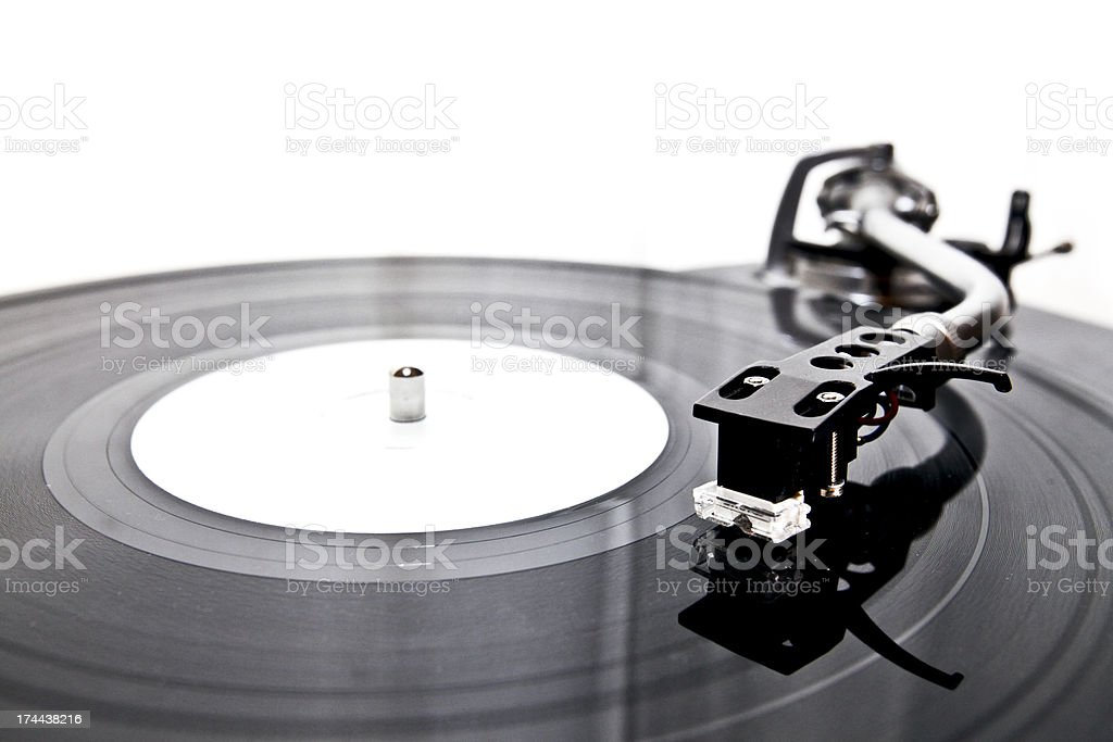 Vinyl record on a DJ's turntable royalty-free stock photo