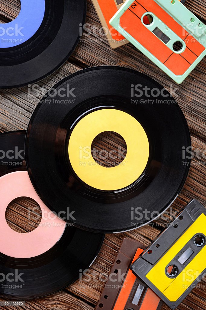 vinyl record on the table stock photo