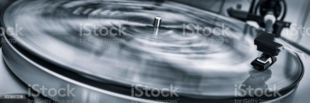 Vinyl record player stock photo