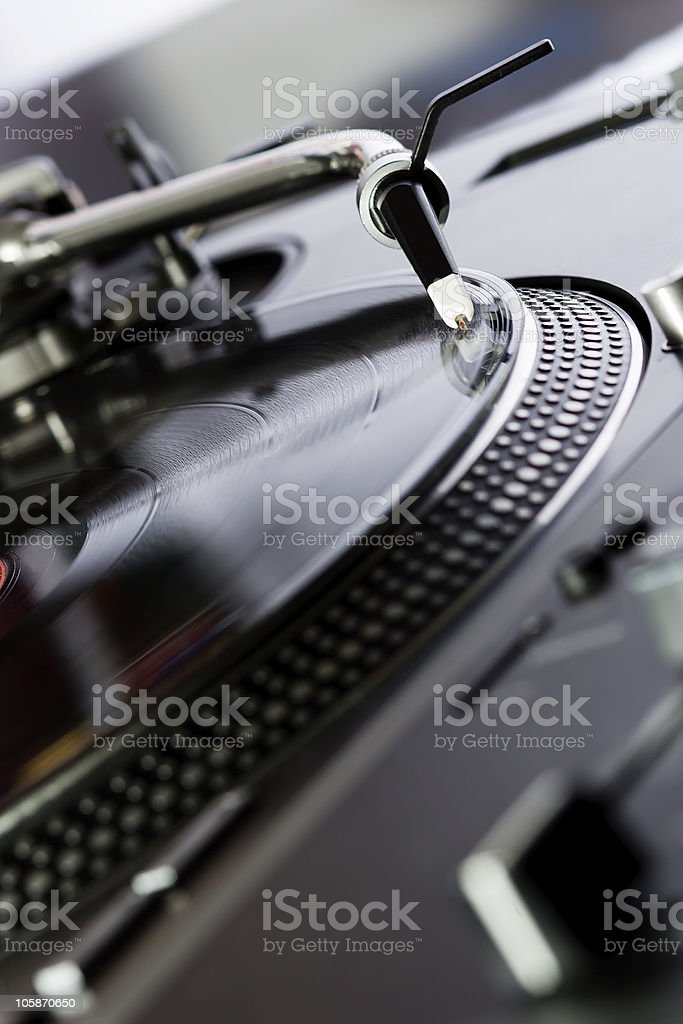 Vinyl record player spinning the disc stock photo