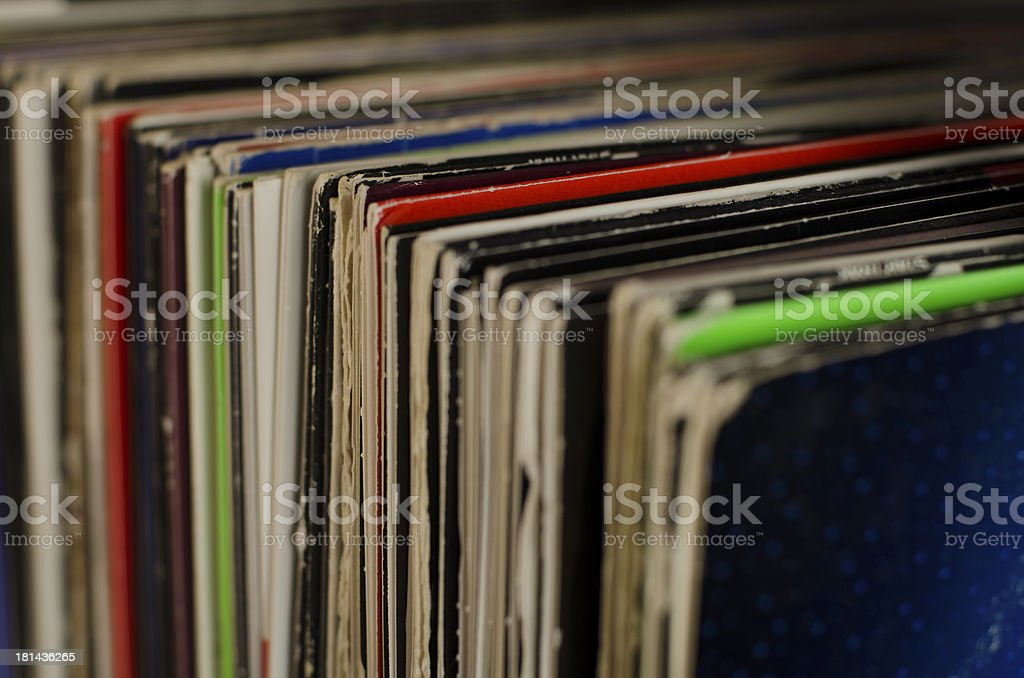 Vinyl Record Sleeves Photographed Diagonally stock photo