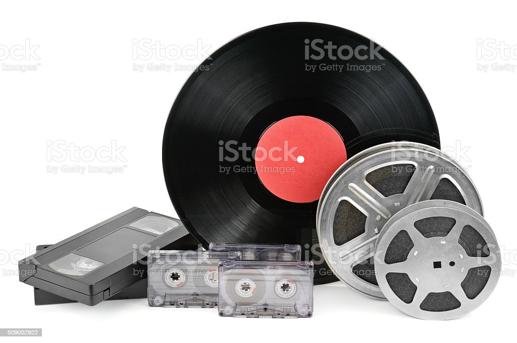 vinyl record, video and audio cassettes stock photo