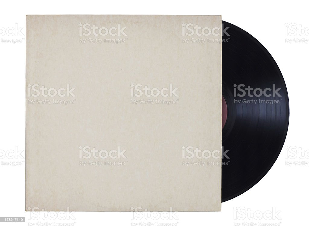 A vinyl record with a white sleeve on it stock photo
