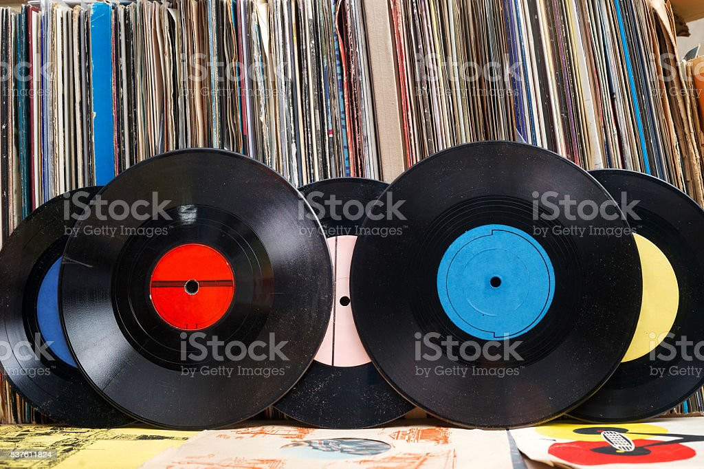 Vinyl record with copy space in front of a collection stock photo