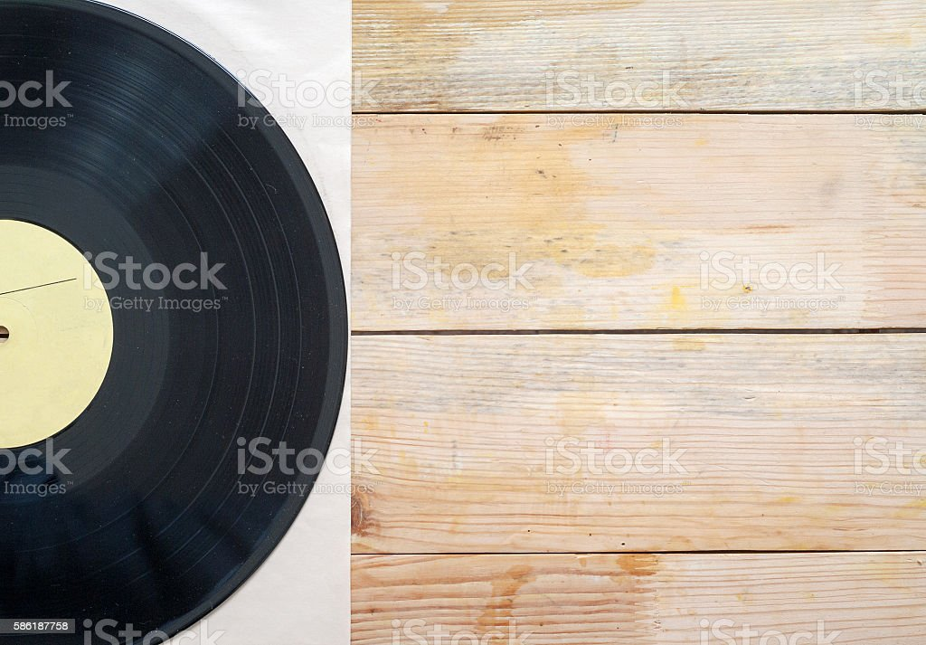 Vinyl record with copy space in front of a collection. stock photo