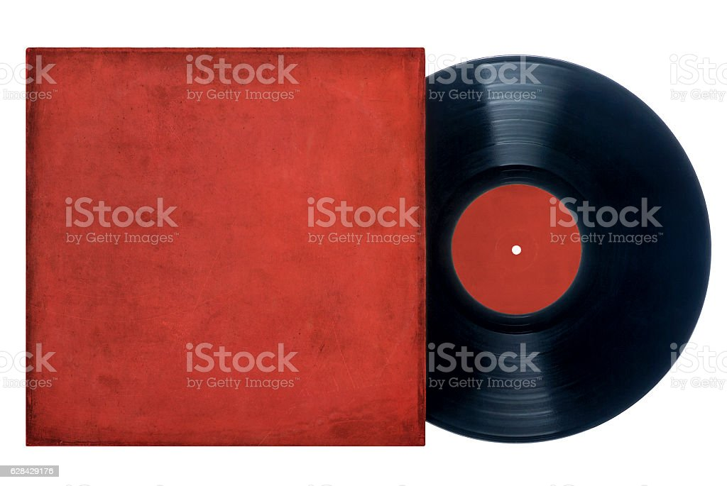 Vinyl Record with Red Sleeve stock photo