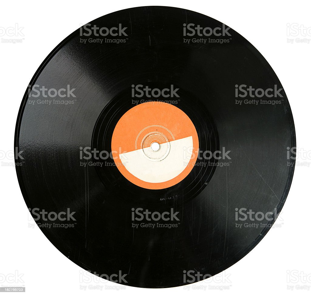 vinyl record with scratches stock photo