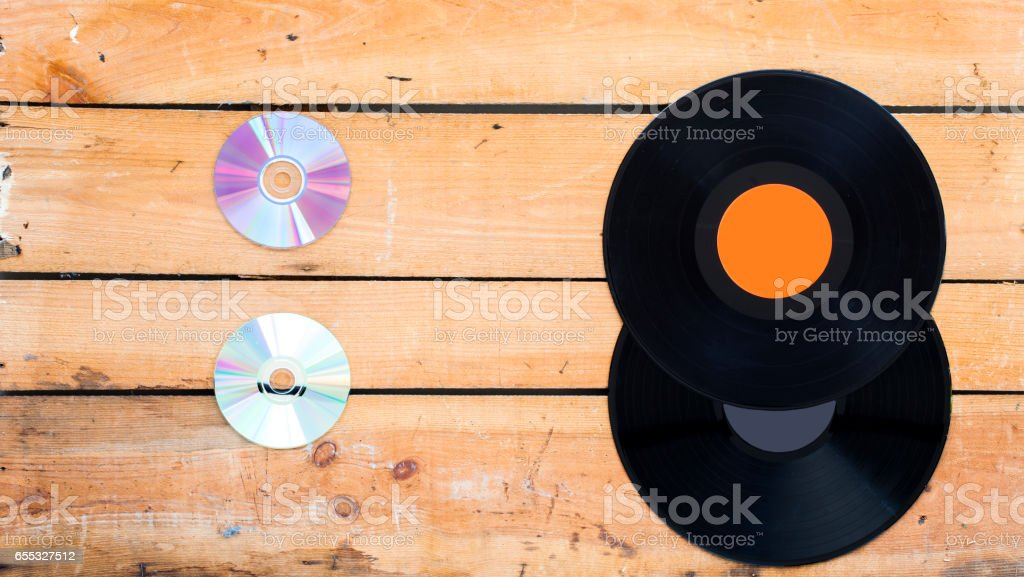 Vinyl records and compact disc stock photo