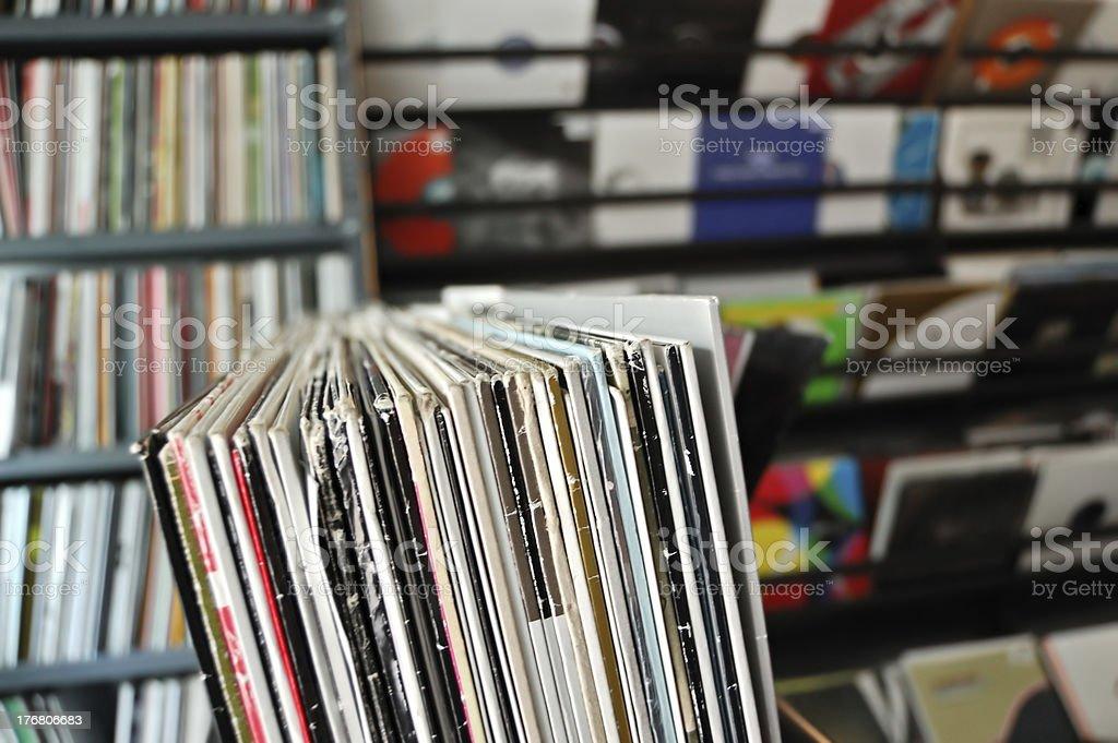 vinyl records at record store royalty-free stock photo