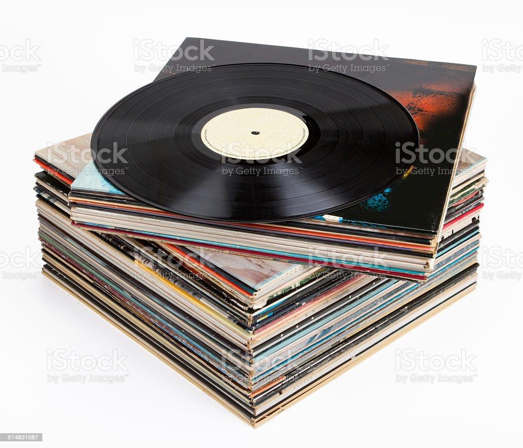 Vinyl records, isolated on white stock photo