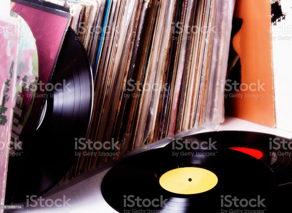 Vinyl records music collection stock photo