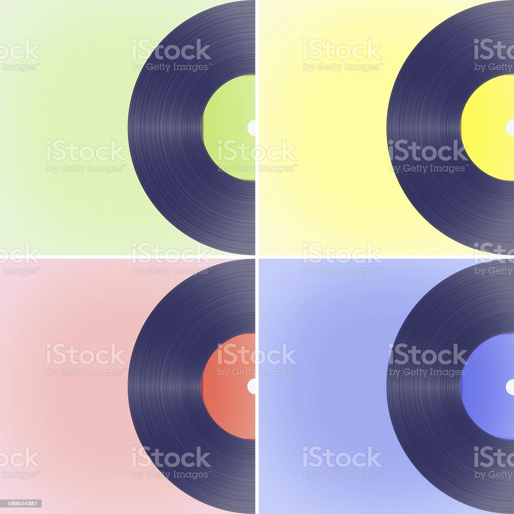 Vinyl records on colored backgrounds stock photo