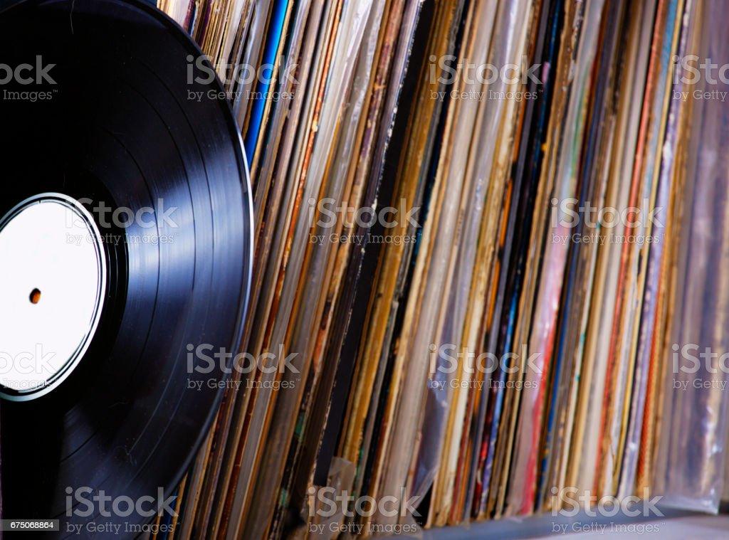 Vinyl records ready to play stock photo
