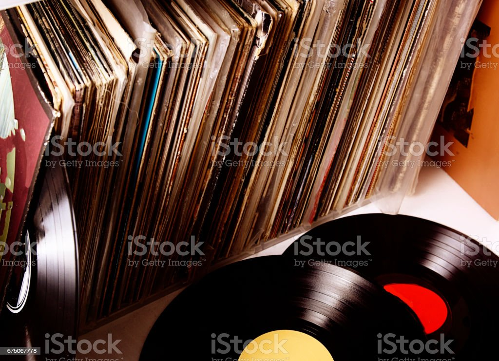 Vinyl records with sleeves stock photo