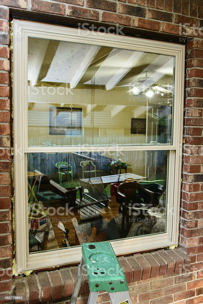 Vinyl replacement window stock photo