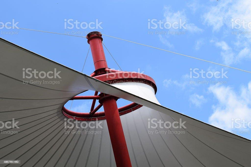 vinyl roof on blue sky stock photo
