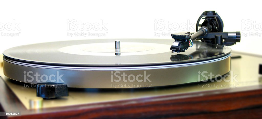 vinyl - turntable with 12' side view royalty-free stock photo