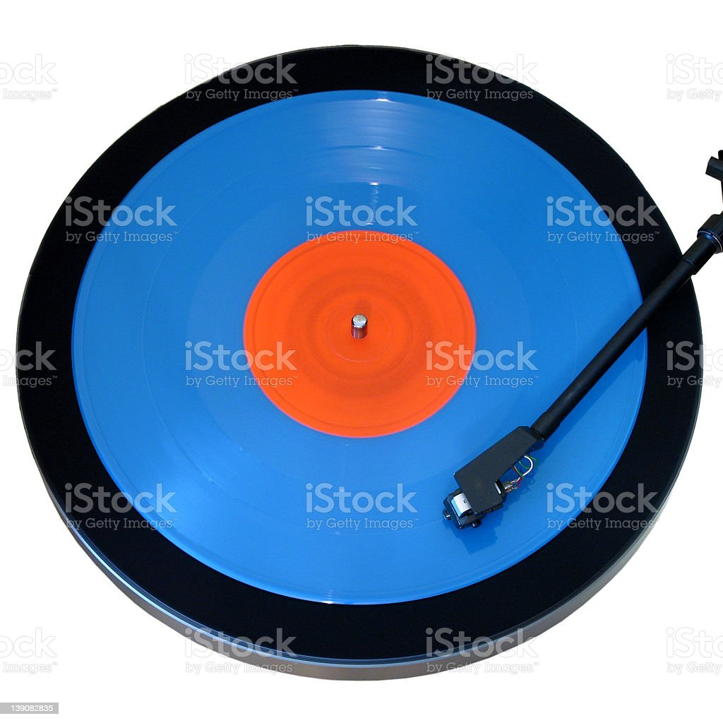 vinyl - turntable with blue 10 stock photo