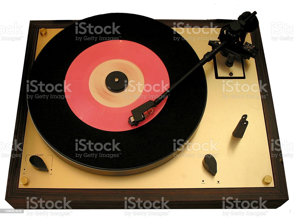 vinyl - turtable with pink 7 stock photo
