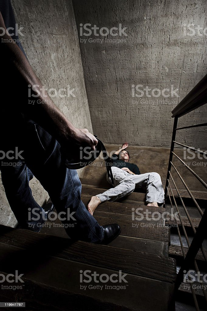 Violence against woman, domestic abuse concept stock photo