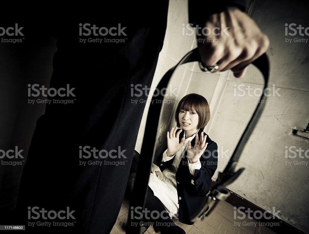 Violence on Woman stock photo