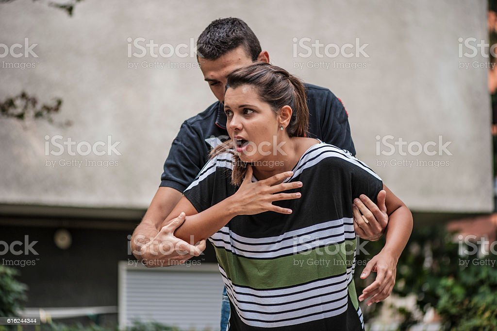 Violence on women stock photo