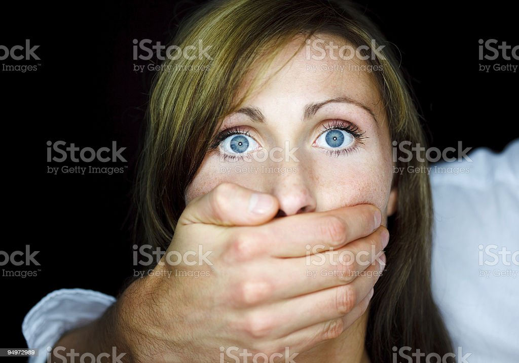 Violence scary fear woman stock photo